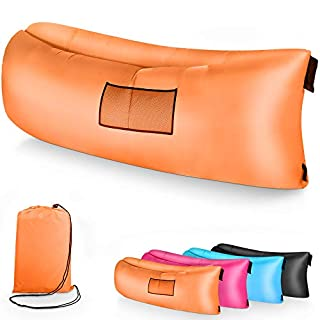 Magicpeony Sofa Gonflable imperméable, Hamac Gonflable Portable Air Sofa avec Oreiller Intégré et Sac de Rangement Imperméable Idéal pour Voyage Plage Camping Mer Jardin (Orange)