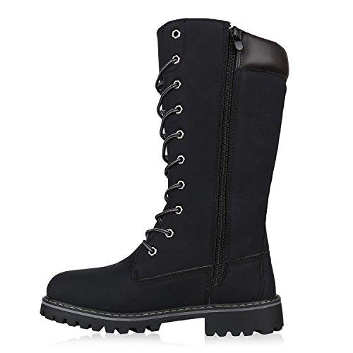 Stiefelparadies Damen Worker Boots Profilsohle Schnürstiefel Karneval Stiefel Fasching Kostüm US Army Soldat Military Boots Flandell Schwarz Arriate