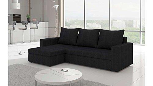 Justhome livio i divano angolare divano letto microfibra (lxlxa): 150x237x85 cm nero penisola a sinistra