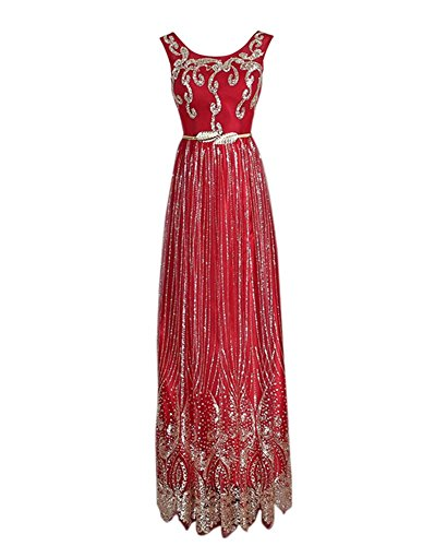 Drasawee Damen Empire Kleid rot rot burgunderfarben
