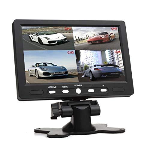 17,8 cm (7 Zoll) 16:9 HD 4 Split Quad Video Displays Automatische Identifizierung 4 Video-Eingangssignale TFT LCD Auto Rückfahrmonitor mit Stand-Alone DVD VCR Kamera GPS Kopfstütze Monitor Lcd Stand Alone Monitor