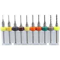 UKCOCO 10pcs 0.3mm à 1.2mm Carbure PCB Forets Set pour Rotary Outil Bijoux CNC Gravure