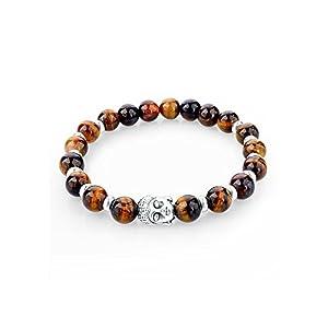d9712b99ab94 BOBIJOO Jewelry – Bracelet Pierre Naturelle Oeil de Tigre Tête de Bouddha  Métal Argenté Bouddhiste