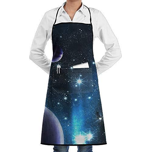 Space Kostüm Nebula - dfgjfgjdfj Space Nebula Planet Schürze Lace Unisex Mens Womens Chef Adjustable Polyester Long Full Black Cooking Kitchen Schürzes Bib with Pockets for Restaurant Baking Crafting Gardening BBQ Grill