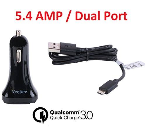 qualcomm ® certified veedee ™ dual usb quick charge 3.0 qcc01 42w car charger for samsung galaxy s7 / s6 / edge / plus, note 5 / 4 and iphone 7 / 6s / plus, ipad pro / air 2 / mini, lg, nexus, htc and more + free 24 awg fast charging cable Qualcomm ® Certified VeeDee ™ Dual USB Quick Charge 3.0 QCC01 42W Car Charger for Samsung Galaxy S7 / S6 / Edge / Plus, Note 5 / 4 and iPhone 7 / 6s / Plus, iPad Pro / Air 2 / mini, LG, Nexus, HTC and More + Free 24 AWG Fast Charging Cable 41tLBKbIk7L