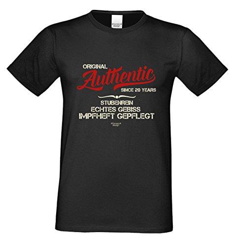 Geschenk zum 20. Geburtstag :-: T-Shirt Geschenkidee für Männer und Frauen :-: Authentic Since 20 Years :-: Geburtstagsgeschenk für Sie und Ihn :-: Farbe: schwarz Schwarz