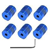 Usongshine 6 STÜCKE Flexible Kupplungen 5mm bis 8mm NEMA 17 Welle für RepRap 3D Drucker oder CNC Maschine(Blau)