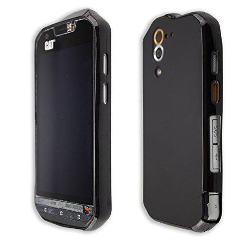 caseroxx Hülle/Tasche TPU-Hülle schwarz + Displayschutzfolie für CAT S60, Set bestehend aus TPU-Hülle und Displayschutzfolie