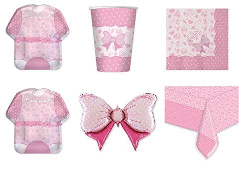 Koordinierte Mädchen Baby Girl Geburt Taufe Erste Geburtstag Pink Party Dekorationen–Kit N ° 14cdc- (16Teller, 16Becher, 16Servietten, 1Tischdecke, 1Ball Foil)