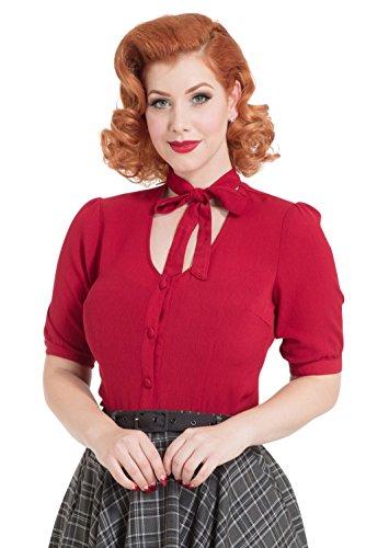 Voodoo Vixen Cora Hals Bogen Vintage Style Bluse - Rot (S - DE 34)