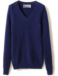 LinyXin Cashmere Damen Kaschmir V-Ausschnitt Pullover Wolle Langarm  Freizeit Winter Warm Pulli Sweater 2146a98999