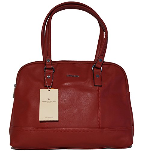 Borsa donna a mano o a spalla David Jones in ecopelle modello classico a doppio manico con tasca interna porta tablet, netbook o ebook reader - bordeaux