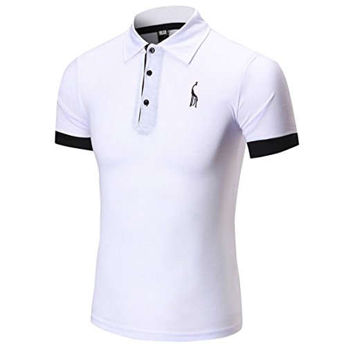 Feixiang® t-shirt uomo polo uomini maniche corte tops maglia magliette casual moda camicia manica corta da uomo collo alto comodo maglietta del foro di modo degli uomini (bianco, xl)