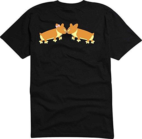 T-Shirt D885 T-Shirt Herren schwarz mit farbigem Brustaufdruck - Design Tribal Comic / Grafik Haustier / kleine verliebte Hunde Schwarz