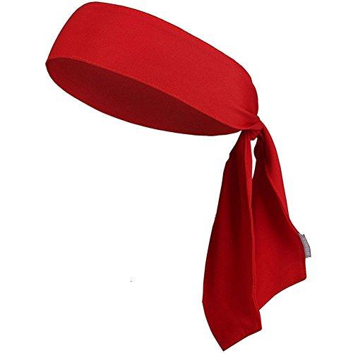 Kumkey Schweißband Stirnband Elastische Headband Bandana Atmungsaktives Stirnbänder für Tennis, Laufen, Crossfit, Fitnessstudio Basketball Fußball Fitness Laufen Yoga (Rot)