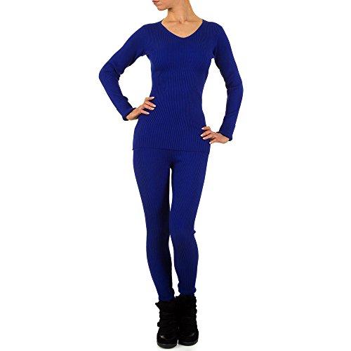 Schuhcity24 Damen Anzug 2 Teiler Hose Blazer Jacke Bluse Hemd Freizeitanzug Dunkelblau M/L