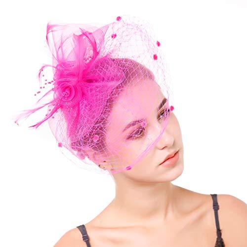 Furu Damen Elegante Blume Feder und Schleier Fascinator Cocktail Party Haar Clip Hat für Damen
