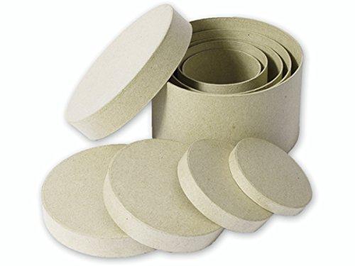 Kars Set di 5 scatole rotonde con coperchio, da decorare, in cartapesta