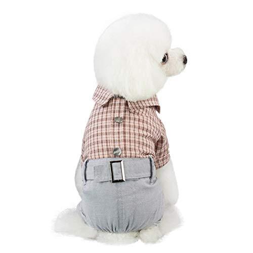 Plaid Baumwolle Kostüm - FGDSSE Haustier T-Shirt Weiche Hündchen Neue Haustier Hund Kleidung Welpen Katze Plaid Overall Warme Baumwolle Pyjama Kostüm Kleidung Hemd Freizeitweste
