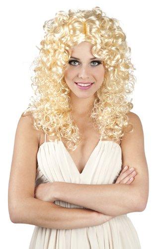 70er Jahre Schlager Perücke für Damen blonde Lockenperücke (Jahre Blonde 70er Perücke)