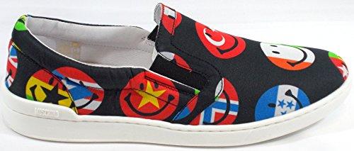 Moschino Slip On Schuhe Sneaker Mokassin Herren Canvas ST.Fahnen Schwarz