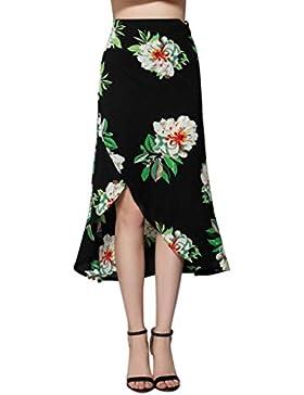 Falda AsiméTrica De Alta Cintura Con CinturóN Mujer LHWY, Falda Vintage De Estampado Flor Verano Faldas Fiesta...