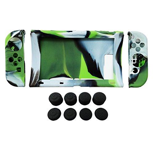 Hikfly Silikon Gel Rutschfester Handgriff Anti-Rutsch Abdeckung Haut Schutz Kits für Nintendo Switch Konsolen und Joy-Con Controller Mit 8pcs Schwarz Silikon Gel Daumengriffe Caps (Grün Tarnung) (3ds-docking-station)