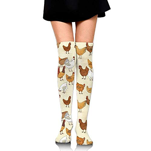 Gped Kniestrümpfe,Socken,Yellow&white Chicken Pattern Casual Crew Top Socks,Tube Over Knee Nursing Compression Long Socks,3D Printed Sports For Girls&Women 50 CM