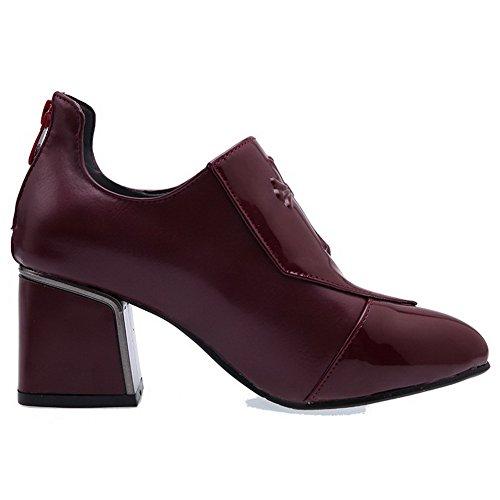 VogueZone009 Femme à Talon Correct Couleur Unie Tire Pointu Chaussures Légeres Rouge Vineux