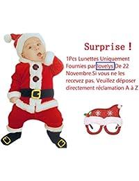 8b891cb2c772e Rameng- 4Pcs Noël Vêtements Bébé Noël Costume Père Noël Enfant Déguisement  Bébé ...