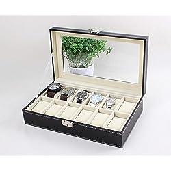 Leder Uhrenkoffer für 12 Uhren Uhrenbox Schaukasten Uhrenkasten Uhrenvitrine Uhrenschatulle