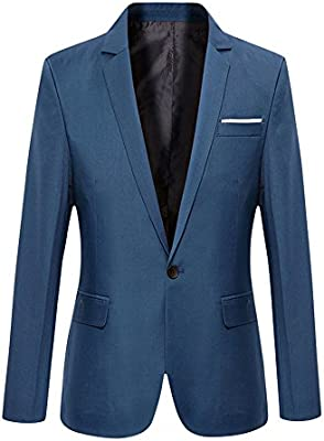 VOBAGA Hombres Slim Fit Casual Un Botón Negocios Con Estilo Traje Abrigo Chaquetas Blazers