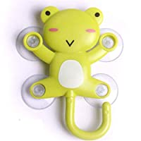 Onseuk Hanger Cartoon Animal Shaped Holder Suction Hook, Wall Hooks Wall Hangers, 1 Pcs Suction Cup Hook (frog)