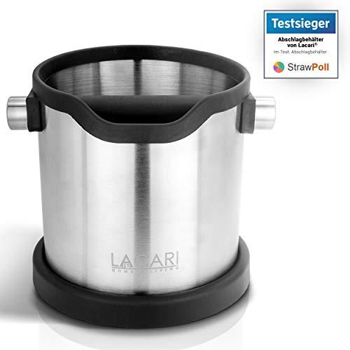 TESTSIEGER: SEHR GUT - Lacari ® Abschlagbehälter - Perfekt Für Siebträgermaschinen - Hochwertiger Abklopfbehälter Aus Edelstahl - Abschlagbox zur Entsorgung von Kaffeesatz