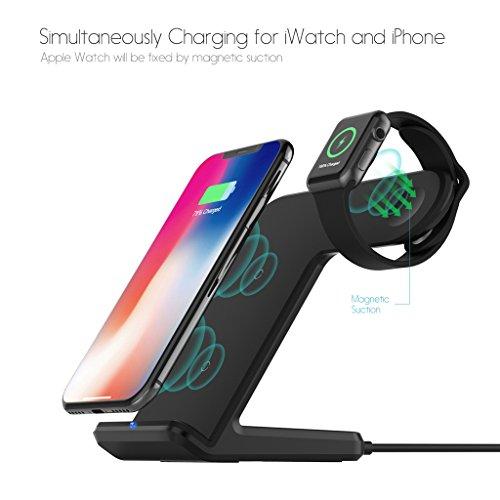 WEISHAZI 2 In 1 10W Qi Wireless Fast Charger Holder Stand Für Apple Watch IPhone 8 X Samsung (Handy-hülle Für Verizon Lg G2)