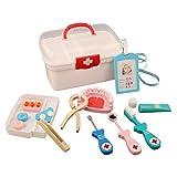YAKOK 13er Holz Arztkoffer Kinder, Arztkoffer Holz Spielzeug Arzt Spielzeug mit Stethoskop Zahnarzt Spielzeug für Kinder Kleinkind Junge Mädchen ab 2-6 Jahre (Rot)