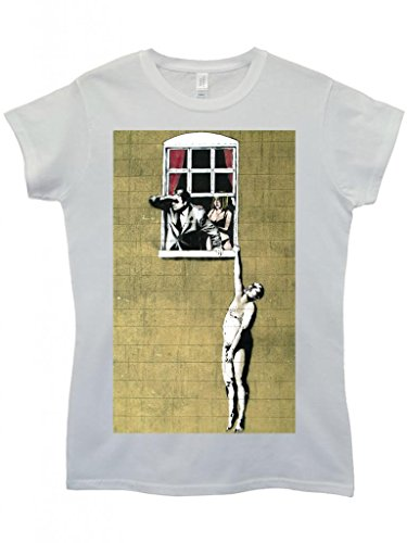 Banksy Naked Man Husband and Wife Cool Funny Hipster Swag White Weiß Damen Women Top T-Shirt Weiß