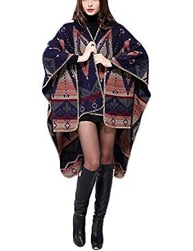BOLAWOO Poncho Mujer Otoño Invierno Bufanda Elegantes Vintage Mode De Marca Talla Grande Termica Grueso Chaqueta...