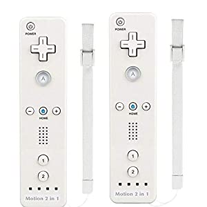 TheMax® WII U Remote Console Joystick Controller X2 Built in Motion Plus 2 in 1 Remote Multi Player Compatible With Nintendo Wii U Games Controller + FREE SILICONE COVER (White)