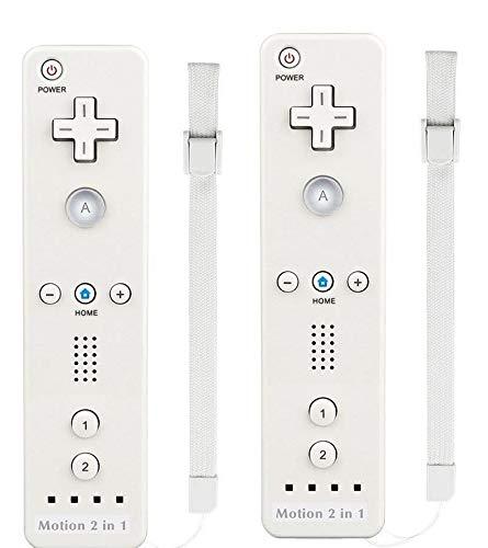 AMO® X2 Motion Plus 2 in 1 Remote Multi Player Nintendo Wii Games Controller + FREE SILICONE COVER (White)