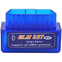 Vgate Super Mini ELM327 OBD2 II - Sistema de diagnóstico del motor (OBD2II), última versión V2.1, Bluetooth, para Windows, color azul