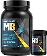 MuscleBlaze Raw Whey 80% Whey Protein Concentrate with added Digestive Enzymes (Raw Whey , 1 Kg+ Creatine, 100