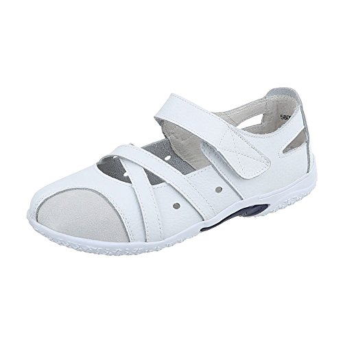 Ital-Design Riemchenballerinas Leder Damen-Schuhe Riemchenballerinas Klettverschluß Klettverschluss Ballerinas Weiß, Gr 40, 5806-1-