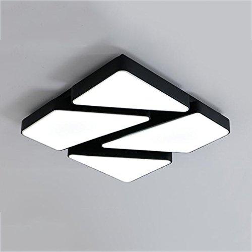 Plafonnier LED, Mode Creative Rectangle Salon Lumières Chambre Moderne Lumières Gradation Personnalité Lampes (Couleur : Noir, Taille : Promesse gradation-60 * 60cm)