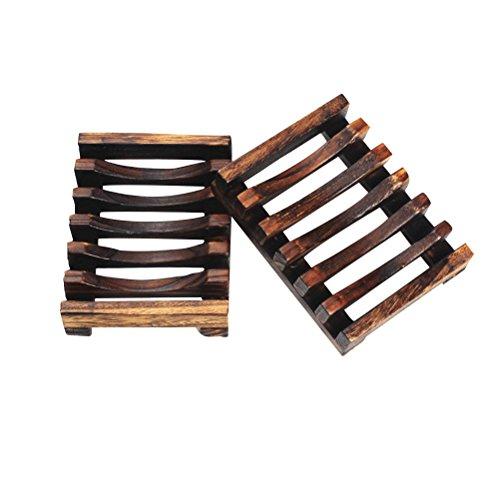 BESTOMZ Jabonera de madera jabón plato de bambú Soporte para Hogar Baño Accesorios 2pcs
