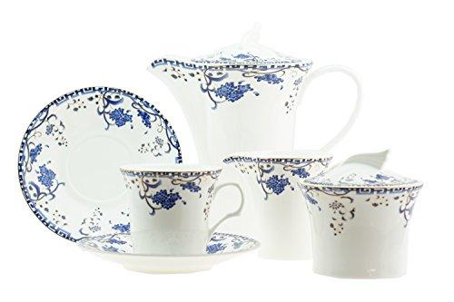 15pezzi lusso Bone China orientale fiore blu con bordo oro Australian Style Tea/Coffee set per 6persone