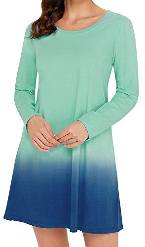 Angerella Tunic Manche Longue Swing Robe Tie dye T-Shirt Robe pour Adolescent(Vert,EU48-50,XX-Large)