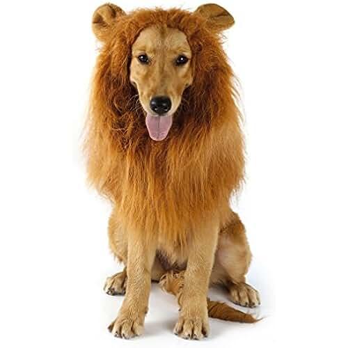 regalos tus mascotas mas kawaii Disfraz de peluca melena de león para perro | Disfraz de peluca melena de león para mascota con orejas para perros medianos y grandes - Regalo perfecto para perros