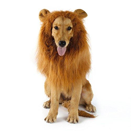 Yks cane pet costume, pet cosplay costume regolabile dimensione leone criniera parrucca per cane gatto halloween partito natale vestire marrone (con le orecchie)