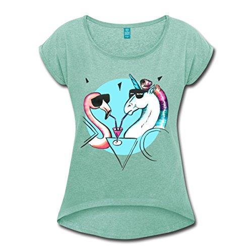 Spreadshirt Einhorn Flamingo Cocktail Party Frauen T-Shirt mit Gerollten Ärmeln, M, Minze Meliert (Trinken Mädchen T-shirt)